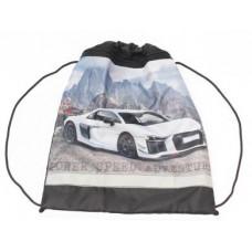 Сумка-мешок для обуви ИДП. с карманом. светоотр. Белое авто в горах.