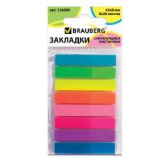 Закладки клейкие BRAUBERG НЕОНОВЫЕ пластиковые, 45х8 мм, 8 цветов х 20 листов, в пластиковой книжке, 126699