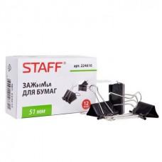Зажим д/бумаг  51мм,черные на 230 л., STAFF  12шт.,