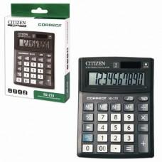 Калькулятор CITIZEN настольный Correct SD-210, 10 разрядов, двойное питание, 103x138 мм, черный
