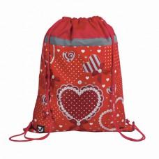 """Сумка для обуви BRAUBERG для учениц начальной школы, плотная, """"Сердце"""", красная, 45х35 см"""