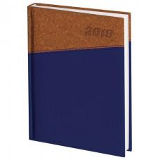 "Ежедневник датированный 2019, А5, BRAUBERG ""Cork"", кожзам, ""пробка"", синий/коричневый, 138х213 мм"