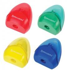 Точилка BRAUBERG BELL с контейнером, пластиковая, конусообразная, цвет корпуса ассорти
