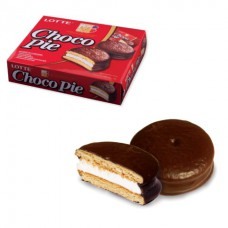 """Печенье LOTTE """"Choco Pie"""" (""""Чоко Пай""""), прослоенное, глазированное, в картонной упаковке, 336 г (12 штук х 28 г"""