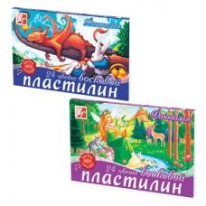 """Пластилин восковой ЛУЧ """"Фантазия"""", 24 цвета, 420 г, со стеком, картонная упаковка"""