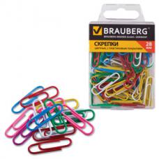 Скрепки BRAUBERG 28 мм цветные, 100 шт. в пласт. кор