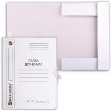 Папка д/бумаг с завязками картонная мелованая BRAUBERG, гарант. пл. 320 г/м2, до 200л.
