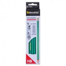 Карандаш ч/г пластиковый с ластиком BRAUBERG HB зеленый корпус заточ.