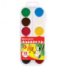 Краски акварельные BRAUBERG, 12цв, медовые, пластиковая коробка, без кисти